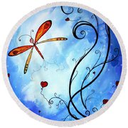 Springs Sweet Song Original Madart Painting Round Beach Towel