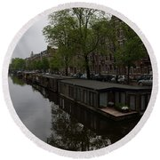 Springtime Amsterdam - Boathouses And Miniature Gardens Round Beach Towel