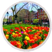 Springtime At Abingdon Square Park Round Beach Towel