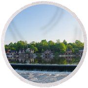 Springtime At Boathouse Row In Philadelphia Round Beach Towel