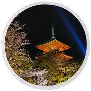 Springtime At Kiyomizu-dera Round Beach Towel