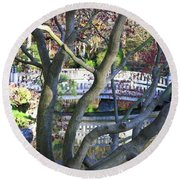 Springtime Bridge Through Japanese Maple Tree Round Beach Towel by Carol Groenen