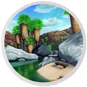 Springtime In The Canyons Round Beach Towel