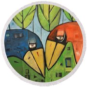 Springtime Lovebirds Round Beach Towel
