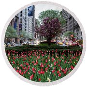 Springtime On Park Avenue Round Beach Towel