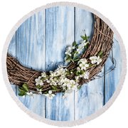 Springtime Wreath Round Beach Towel