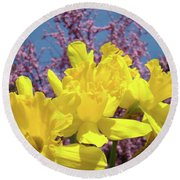 Springtime Yellow Daffodils Art Print Pink Blossoms Blue Sky Baslee Troutman Round Beach Towel