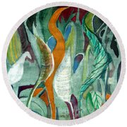 Sprout Round Beach Towel by Mindy Newman