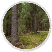 Spruce Forest  Round Beach Towel