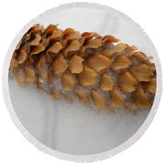 Spruce Tree Cone In The Snow Round Beach Towel