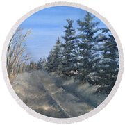 Spruce Trees Along A Snowy Road  Round Beach Towel
