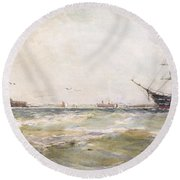 Squally Weather, Portsmouth Round Beach Towel