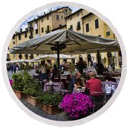 Square Amphitheater In Lucca Italy Round Beach Towel