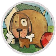 Square Dog Round Beach Towel