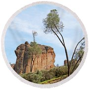 Square Rock Formation Round Beach Towel