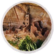 Square Tower Overlook - Alcove Dwellers Round Beach Towel