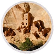 Square Tower Ruin Round Beach Towel