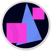 Squares And Triangle Round Beach Towel