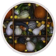 Squash And Gourds In Compartments Round Beach Towel