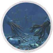 Squid-like Orthoceratites Attempt Round Beach Towel