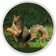 Squirrel Eating Pizza Round Beach Towel