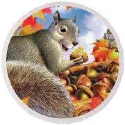 Squirrel Treasure Round Beach Towel