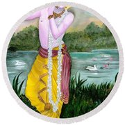The Divine Flute Player, Sri Krishna Round Beach Towel