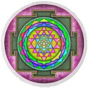 Sri Yantra - Artwork 7.5 Round Beach Towel