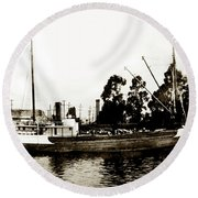 Steam Schooner Helene At San Padero Round Beach Towel