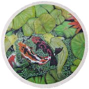 Summer Pond At Lunchtime Round Beach Towel