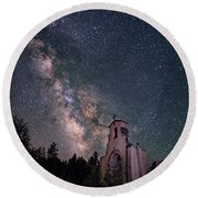St. Aloysius Church Ruin Under The Stars Round Beach Towel