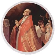 St Andrew Corsini In Prayer 1635 Round Beach Towel