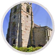 St Andrew's Church At Cubley In Derbyshire Round Beach Towel