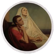 St Augustine And His Mother St Monica Round Beach Towel