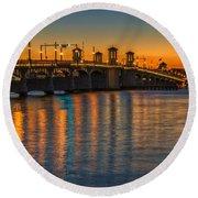 St Augustine Bridge Of Lions Sunset Dsc00433_16 Round Beach Towel