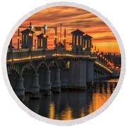 St Augustine Bridge Of Lions Sunset Dsc00565_16 Round Beach Towel