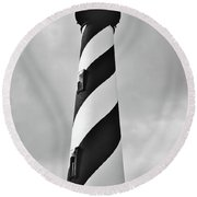 St Augustine Lighthouse Bw Round Beach Towel