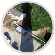 St. Augustine Lighthouse Shadow Round Beach Towel
