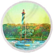 St Augustine Lighthouse Waterscaped Round Beach Towel