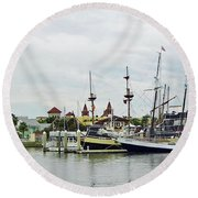 St Augustine Marina From The Water Round Beach Towel
