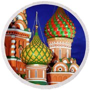 St Basils Cathedral In Moscow Russia Round Beach Towel