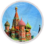 St. Basil's Cathedral Moscow Round Beach Towel