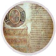 St. Bede, Manuscript Round Beach Towel
