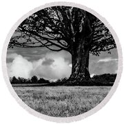 St. Benedict Abbey Single Tree In Summer Round Beach Towel