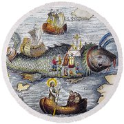 St. Brendan: Mass Round Beach Towel