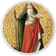 St. Catherine Of Alexandria Round Beach Towel by Josse Lieferinxe