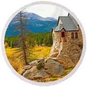 St. Catherine's Church In Autumn Round Beach Towel