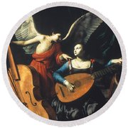 St. Cecilia And The Angel Round Beach Towel