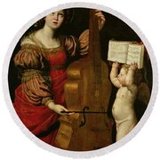 St. Cecilia With An Angel Holding A Musical Score Round Beach Towel by Domenichino