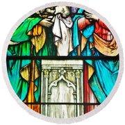 St. Edmond's Church Stained Glass Window - Rehoboth Beach Delaware Round Beach Towel